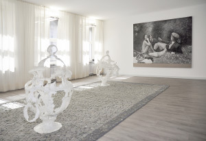 Main image: Sultan Acar, carpet | Raphaela Vogel, sculpture | Christian Jankowski, painting | Installation in the Wurlitzer PTC collection in cooperation with Art Week Berlin