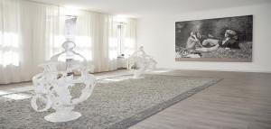 Sultan Adler ( Acar ) carpet | Raphaela Vogel, sculpture | Christian Jankowski, painting | Installation in the Wurlitzer PTC collection in cooperation with Art Week Berlin